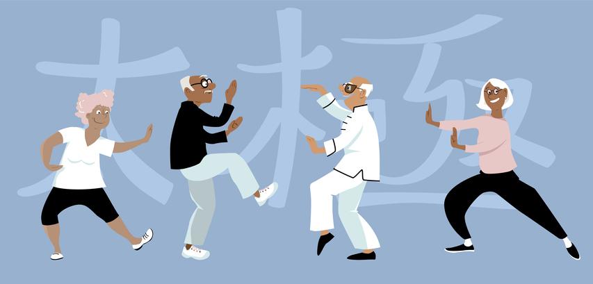 aging well seniors doing Tai Chi graphic
