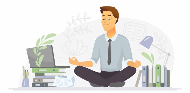 Graphic man meditating